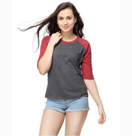 Women Round Neck Quarter Sleeve T-Shirts