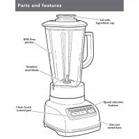 KitchenAid 5 Speed 5KSB1585DER 1.77 Litre 550 W Diamond Blender with Recipe Book